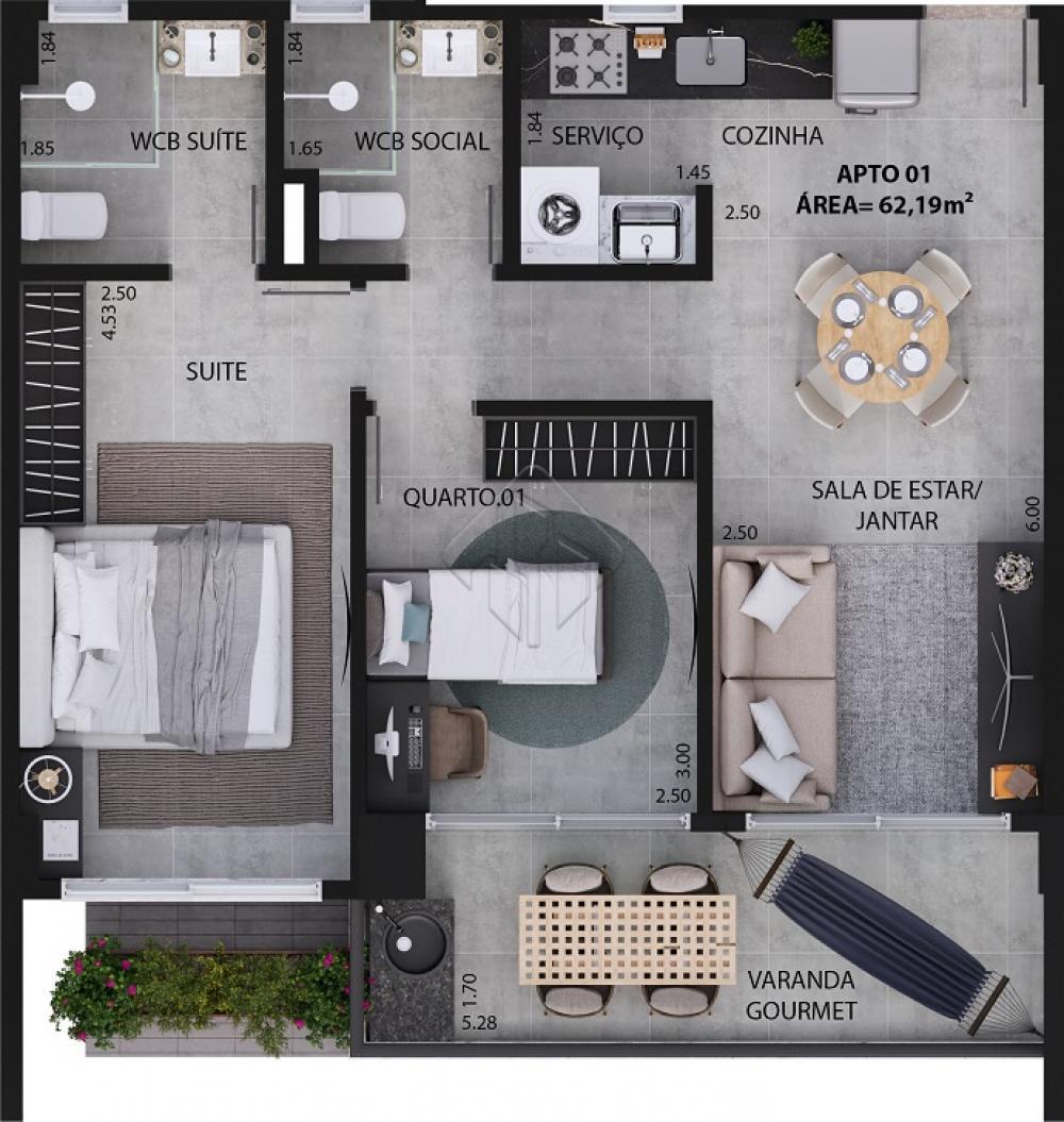 STUDIO  Opções com 28,04 m a 32,07 m²  APARTAMENTOS TIPO 2 QUARTOS COM 1 SUÍTE Opções com 55.78 m a 65.04 m  Os apartamentos tipo 2 quartos com 1 suite possuem sala estar/jantar 01 quarto 01 suite master, 01 WC suite. WC social cozinha área de serviço, circulação, varanda gourmet  APARTAMENTOS TIPO 3 QUARTOS COM 1 SUITE Opções com 73.12 m a 78 m  Os apartamentos tipo 3 quartos com 1 state gostem, sala estar/jantar. 01 quarto, 01 suite master, 01 WC suite, 01 WC social, cozinha, área de serviço, circulação, varanda gourmet.